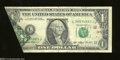 Error Notes:Foldovers, Fr. 1919-L $1 1993 Federal Reserve Note. Fine. A moderate ...