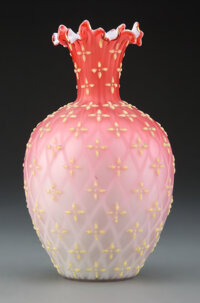 American Quilted Satin Glass Vase with Applied Coralene Decor, late 19th-early 20th century 7-3/4 inches (19.7 cm)