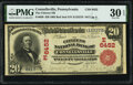 National Bank Notes:Pennsylvania, Connellsville, PA - $20 1902 Red Seal Fr. 639 The Citizens National Bank Ch. # (E)6452 PMG Very Fine 30 EPQ.. ...