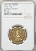 1860 George H. Lovett, New York, New York, MS64 NGC. Miller-NY-491B. Brass, 28 mm, plain edge