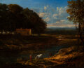 Paintings, Continental School (19th Century). Landscape with farmhouse next to a pond. Oil on canvas. 13-1/4 x 16-3/4 inches (33.7 ...