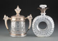 Glass, A Redlich & Co. Silver Mounted Cut-Glass Pass Cup and a Mappin & Webb Silver Mounted Cut-Glass Decanter, early 20th century ... (Total: 2 Items)