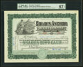 Golden Anchor Mining Company Stock Certificate 100 Shares Sept. 14, 1906 PMG Superb Gem Unc 67 EPQ