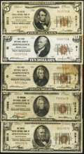 National Bank Notes:Pennsylvania, Johnstown, PA 1929 Ty. 1 Nationals Very Fine or Better. . $5; $50 The United States National Bank Ch. # 5913;. $10; ... (Total: 5 notes)