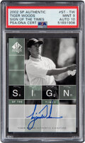 Golf Cards:General, 2002 SP Authentic Tiger Woods (Sign of The Times) #ST-TW PSA Mint 9, Auto 10....