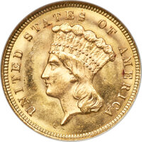 1879 $3 MS63 NGC. Gold CAC....(PCGS# 8001)