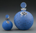 Glass, Two R. Lalique Patinated Blue Glass Dans La Nuit for Worth Perfume Bottles, circa 1924. Marks to tallest: FREN... (Total: 2 Items)