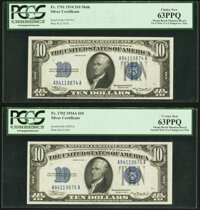 Changeover Pair Fr. 1701 Mule/1702 $10 1934/1934A Silver Certificates. PCGS Choice New 63PPQ