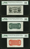 Fractional Currency:Third Issue, Fr. 1272SP (2); 1273-75SP 15¢ Third Issue Wide Margin Specimen Set PMG Graded. . ... (Total: 3 notes)