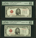Changeover Pair Fr. 1530/1531 $5 1928E/1928F Wide I Legal Tender Notes. PMG Gem Uncirculated 65 EPQ