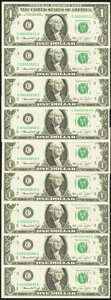 Double Digit Serial Numbers Fr. 1908-C $1 1974 Federal Reserve Notes. Nine Examples. Choice Crisp Uncirculated. ... (Tot...