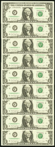 Seven of a Kind Eights Fr. 1917-F $1 1988A Federal Reserve Notes. Nine Examples. Choice Crisp Uncirculated or Better...