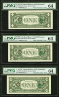 Error Notes:Third Printing on Reverse, Natick Test Paper Overprint on Back Error Fr. 1910-E $1 1977A Federal Reserve Notes. Three Consecutive Examples. PMG Choice Un... (Total: 3 notes)