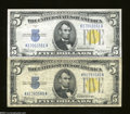 Small Size:World War II Emergency Notes, Fr. 2307 $5 1934-A North Africa Silver Certificate. Two ... (2 notes)
