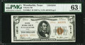 National Bank Notes:Texas, Waxahachie, TX - $5 1929 Ty. 2 Citizens National Bank Ch. # 13516 PMG Choice Uncirculated 63 EPQ.. ...
