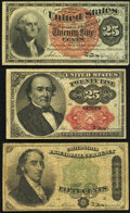 Fractional Currency:Fourth Issue, Fr. 1307 25¢ Fourth Issue Very Fine;. Fr. 1309 25¢ Fifth Issue Very Fine;. Fr. 1379 50¢ Fourth Issue Dexter Very Good.... (Total: 3 notes)