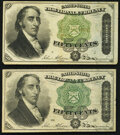Fr. 1379 50¢ Fourth Issue Dexter Two Examples Very Fine
