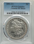 Morgan Dollars: , 1891-CC $1 -- Cleaning -- PCGS Genuine. XF Details. Mintage 1,618,000. ...