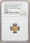 """1849 California Gold """"One"""", Indian - Bear, Round, MS64 NGC. Hart's Coins of the West"""