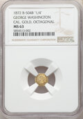 Washingtonia, 1872 25C Washington Octagonal 25 Cents, Baker-504B, BG-724, High R.6, MS63 NGC....