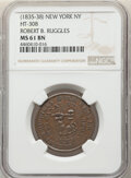 (1835-38) Token Robert B. Ruggles, Low-274, HT-308, W-NY-920-15a, R.4, MS62 Brown NGC. New York, NY. Copper, plain edge...