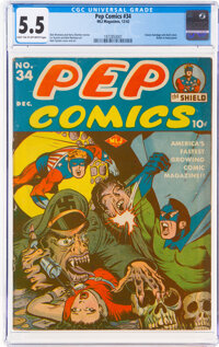 Pep Comics #34 (MLJ, 1942) CGC FN- 5.5 Light tan to off-white pages