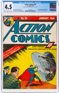 Golden Age (1938-1955):Superhero, Action Comics #20 (DC, 1940) CGC VG+ 4.5 Off-white to white pages....