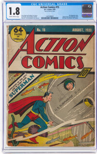 Action Comics #15 (DC, 1939) CGC GD- 1.8 Slightly brittle pages