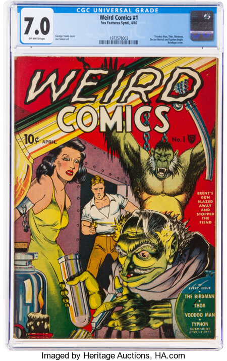 Weird Comics #1 (Fox Features Syndicate, 1940) CGC FN/VF 7.0 Off-white pages....