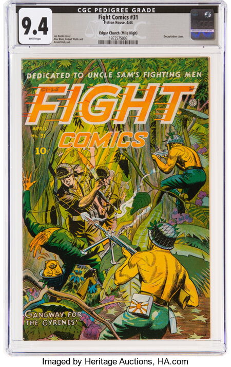 Fight Comics #31 Mile High Pedigree (Fiction House, 1944) CGC NM 9.4 White pages....