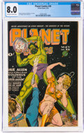 Golden Age (1938-1955):Science Fiction, Planet Comics #36 (Fiction House, 1945) CGC VF 8.0 Off-white to white pages....