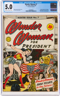 Wonder Woman #7 (DC, 1943) CGC VG/FN 5.0 Cream to off-white pages