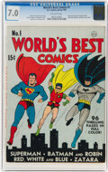 Golden Age (1938-1955):Superhero, World's Best Comics #1 (DC, 1941) CGC FN/VF 7.0 Off-white pages....