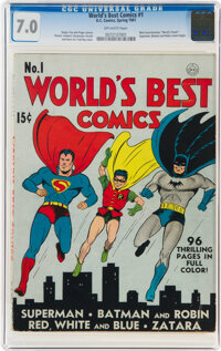 World's Best Comics #1 (DC, 1941) CGC FN/VF 7.0 Off-white pages