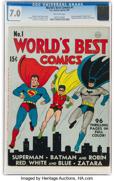 World's Best Comics #1 (DC, 1941) CGC FN/VF 7.0 Off-white pages....