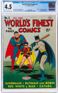 Golden Age (1938-1955):Superhero, World's Finest Comics #3 (DC, 1941) CGC VG+ 4.5 Cream to off-white pages....