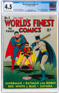 World's Finest Comics #3 (DC, 1941) CGC VG+ 4.5 Cream to off-white pages