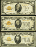 Small Size:Gold Certificates, Fr. 2400 $10 1928 Gold Certificate. Fine-Very Fine;. Fr. 2402 $20 1928 Gold Certificates. Two Examples. Fine-Very Fine or ... (Total: 3 notes)