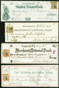 Miscellaneous:Checks, Four Checks with Adhesive Revenue Stamps from Goshen (2) and Poughkeepsie (2), NY 1875 Very Fine.. ... (Total: 4 notes)