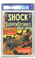 Golden Age (1938-1955):Horror, Shock SuspenStories #9 Gaines File pedigree 3/11 (EC, 1953) CGCNM/MT 9.8 White pages. In Al Feldstein's frightening cover, ...