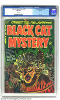 Golden Age (1938-1955):Horror, Black Cat Mystery #39 Spokane pedigree (Harvey, 1952) CGC NM 9.4White pages. This comic with a hanging cover, caught the in...