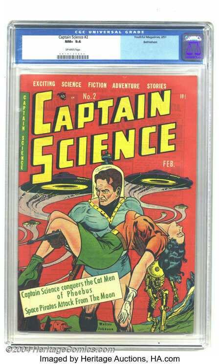 Captain Science #2 Bethlehem pedigree (Youthful Magazines, 1951) CGC NM+ 9.6 Off-white pages. This gem received the highest ...