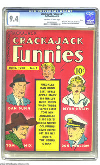 Crackajack Funnies #1 Denver pedigree (Dell, 1938) CGC NM 9.4 Off-white to white pages. Dell Comics' original flagship t...