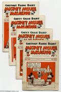 Magazines:Humor, Mickey Mouse Magazine Dairy Giveaway V1#1-6, 8, 11, and 12 Group(Walt Disney Productions, 1933-34) Condition: Average VG.... (9Comic Books)