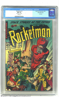 Rocketman #1 White Mountain pedigree (Farrell, 1952) CGC NM 9.4 White pages. This title featured the helmeted hero in st...