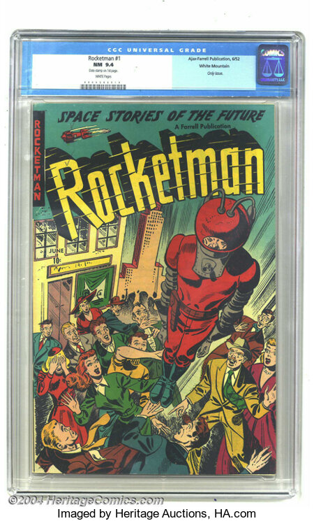 Rocketman #1 White Mountain pedigree (Farrell, 1952) CGC NM 9.4 White pages. This title featured the helmeted hero in startl...