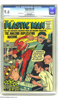 Plastic Man #58 (Quality, 1956) CGC NM+ 9.6 Off-white to white pages. The Man of Plastic was in the hands of two fine ar...