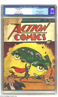 Action Comics #1 (DC, 1938) CGC GD+ 2.5 Cream to off-white pages. The comic that officially launched the Golden Age righ...