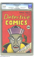 Golden Age (1938-1955):Adventure, Detective Comics #1 (DC, 1937) CGC GD/VG 3.0 Off-white pages. Here's the first issue of the comic book that gave DC its name...