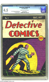 Detective Comics #3 (DC, 1937) CGC VG+ 4.5 Cream to off-white pages. This is one tough-to-find comic book. Overstreet ca...